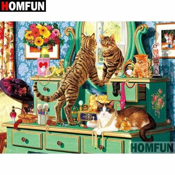 5D Diamond Painting Cats on the Bedroom Dresser Kit