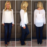 Déja Vu Long Sleve Blouse - WHITE