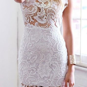 Candice- White Lace Dress