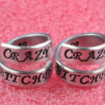 CRAZY BITCHES - Spiral Rings Set, Hand Stamped, Shiny Aluminum, Friendship, BFF Gift, Uppercase Script Font