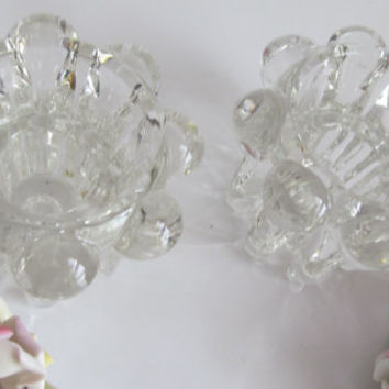 Pair Crystal Taper Candlestick Holders Home Decor Candle Holders
