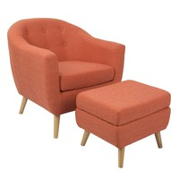 Rockwell Chair with Ottoman Orange