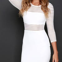White Striped Sheer Mesh Panel Long Sleeve Knit Bodycon Dress