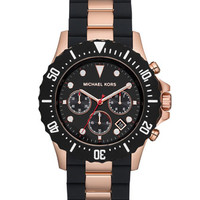 Michael Kors Oversize Two-Tone Black/Rose Golden Stainless Steel Everest Chronograph Watch
