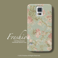 Samsung Galaxy S5 case mint Samsung S3 case flower Samsung Galaxy S4 case floral pattern Samsung Galaxy Note 3 case Samsung Note 2 case 008
