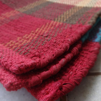 Handmade Multicolor Rag Rug, Decorative Reversible Carpet, Handloomed Chindi Durrie Throw, Floor Mat, Made From Old Fabric