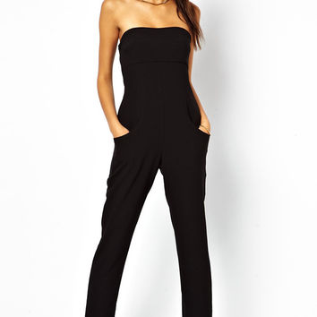 Strapless Black Jumpsuit with Side Pockets