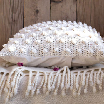 16 x 16 White Pillow Cover, Crochet Cotton Pillow Cover, White Home Decor