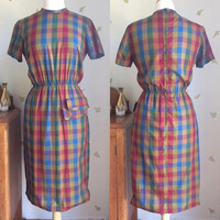 1960's Plaid Cotton Dress ~ Jewel Tones ~ Up to 28 Waist ~ Vintage 60s