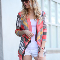 Stripes of Perfection Cardigan - Coral