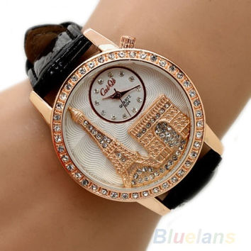 Women Fashion Eiffel Tower Crystal Dial Faux Leather Band Quartz Wrist Watch = 1932904900