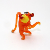 Orange Glass Monkey Figurine Monkey Figurine Glass Figurine Glass Animal Sculpture Glass Art Monkey Figure Monkey Figure new year(05o)