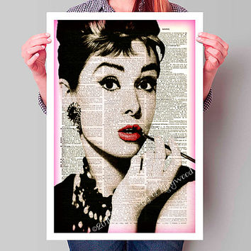 Audrey Hepburn Dictionary Page Art, Rare Vintage Print, Dictionary Art Print, Hollywood Wall Hanging, Home Decor Wall Art, Etsy Find