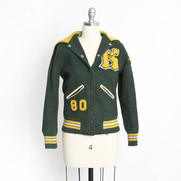 Vintage 80s Letterman Jacket - Green + Yellow Wool Cropped Varsity Jacket 1980 - XS / Small