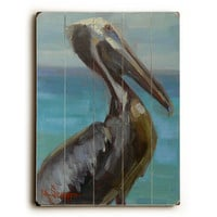 Brown Pelican by Artist Carol Schiff Wood Sign