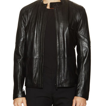 Hugo Boss Men's Lannart Leather Biker Jacket - Black -
