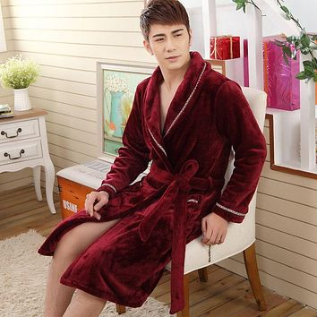 Winter Men thick Flannel Bathrobe Traditional Bath Robes High Quality male sleepwear homewear Couple lounges pajamas 102703