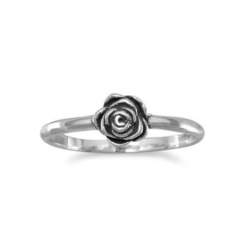 Small Oxidized Rose Ring