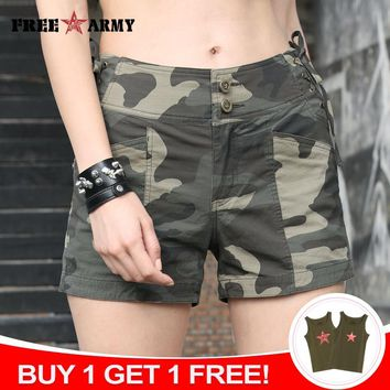 FREEARMY Summer Shorts Women Sexy Casual Shorts High Waist Drawstring Military Camouflage Spandex Cotton Shorts Cycling Ladies
