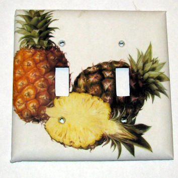 Double Light Switch Cover - Light Switch Plate Pineapple Tropical Fruit