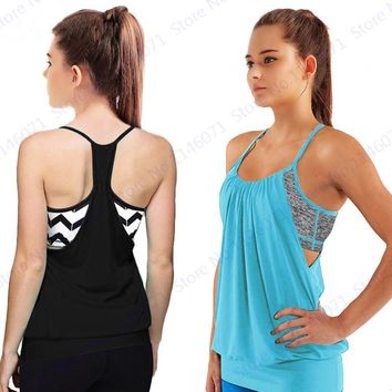 Black Sexy Halter Yoga Shirts With Built-in Bra Blue Sleeveless Sports Running T-Shirts Women's Burnout Fitness Gym Tanks Tops