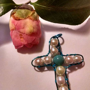 New Blue Wire Wrapped Cross Pendant with White Glass Pearls and Turquoise Colored Bead Faith Religion Easter Gift for Her Mirror Charm