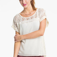 Lush Lace & Chiffon Top (Juniors) | Nordstrom