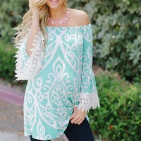Aqua White Printed Crochet Sleeve Maternity Tunic