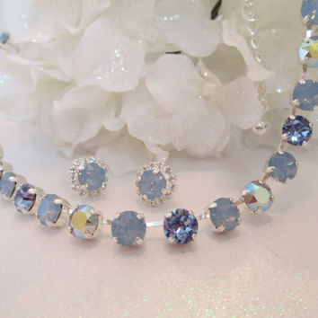 Swarovski SOMETHING BLUE NECKLACE, blue opals, aroura borealis, bridal, bridesmaid, stunning, designer inspired,
