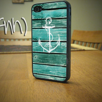 Nautical iPhone 4 Case Anchor iPhone 4 or 4S Case Wood by IFNH
