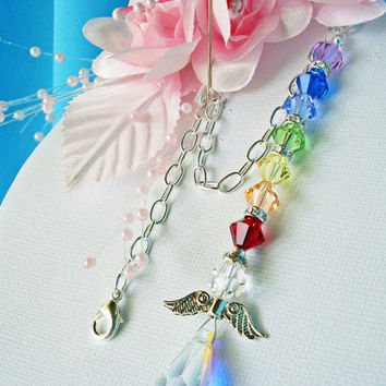 Chakra Rear View Mirror Car Charm Swarovski Chakra Crystal Guardian Angel Car Accessory