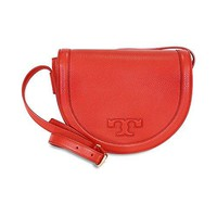 Tory Burch Serif-T Leather Saddle Bag - Vermilion