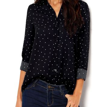 Polka Dot Roll Up Sleeve Blouse