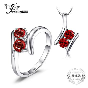 JewelryPalace Fashion 1.9ct Genuine Garnet 2 Stone Pendant Necklace Ring  925 Sterling Silver 45CM Chain Women Fine Jewelry Sets