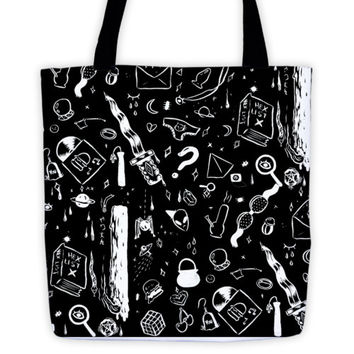 """MADE TO ORDER """"Witch Print"""" Sublimated all over print Black Tote Bag"""