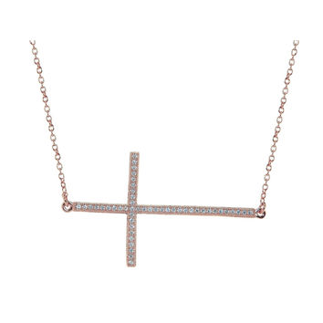 Rose Gold Plated Silver Large Sideways CZ Studded Cross Necklace, 16""