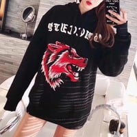 """Gucci"" Unisex Personality Casual Wolf Head  Embroidery Letter Hooded Long Sleeve Pullover Sweater Couple Loose Hoodie Tops"