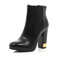 River Island Womens Black leather metal trim heel Chelsea boots