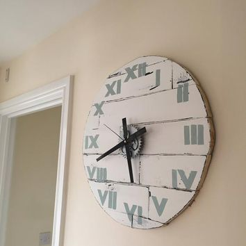 Clock Wall Medium  56 cm / 22.1 inch Diameter White Wall with Duck Egg Roman Numerals