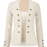 white textured military jacket with lace