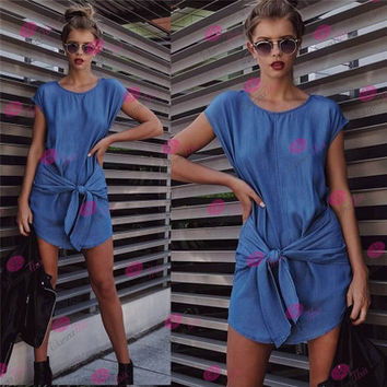 2016 Hollow Bandage Long Jeans Sleeveless Casual Party Playsuit Clubwear Bodycon Boho Dress _ 4662