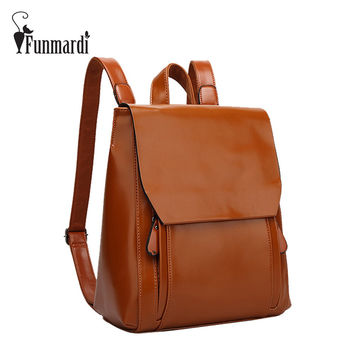 FUNMARDI New arrival vintage leather backpack simple style leather women bag fashion brand design travel bag school bag WLHB1620
