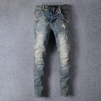 Ripped Holes Slim Pants Jeans [1563339161693]