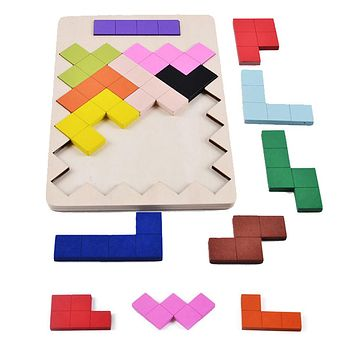 Kids Puzzles Wooden Toys Jigsaw Board Brain Teaser Puzzle Geometric Shape Game Educational Toys Gift