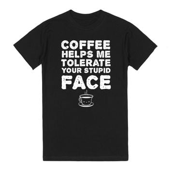 Coffee Stupid Face-Female Black T-Shirt L