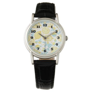Yellow Lemons & Blue Flowers Illustrated Pattern Watches