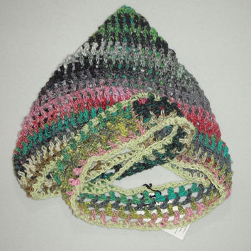 Scoodie Hooded Scarf  Noro Black Green Pink by CrimsonMosquito