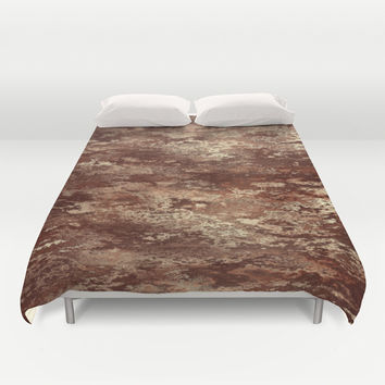 Brown wood bark texture Duvet Cover by Natalia Bykova