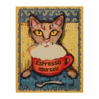 Abyssinian Cat Drinking Espresso Wood Wall Art