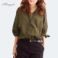 Vintage Style Women Work Shirts Army Green Fashion Casual Elegant Female Tops Loose Middle-Length Girl's Long Sleeve Shirt A3404